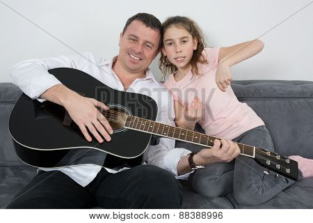 At Home Father And His Daughter