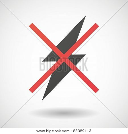 Not Allowed Icon With A Lightning