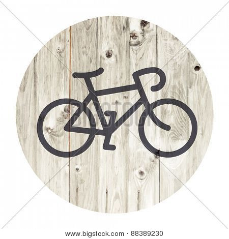 Bicycle minimalistic icon on aged wooden wall background