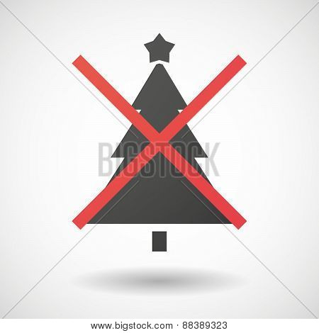Not Allowed Icon With A Christmas Tree