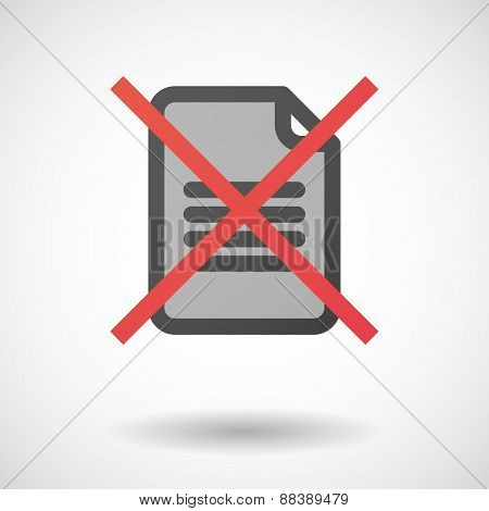 Not Allowed Icon With A Document