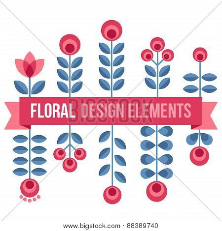 Set Of Design Elements - Retro Flowers