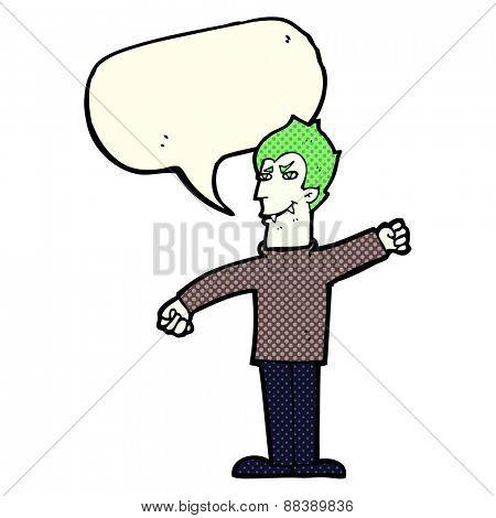 cartoon vampire man with speech bubble