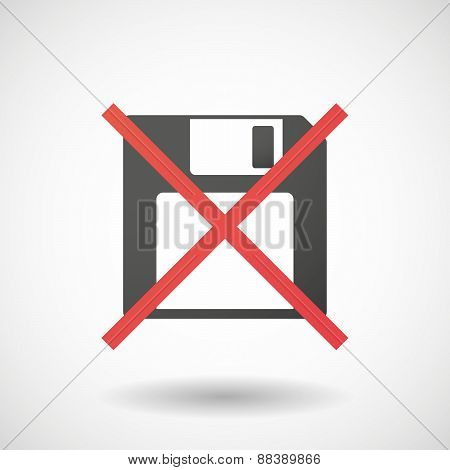 Not Allowed Icon With A Floppy