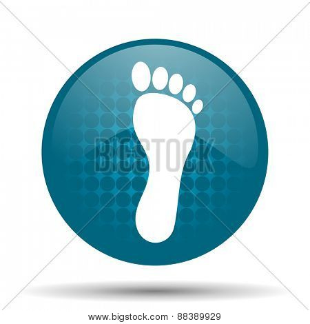 foot blue glossy web icon