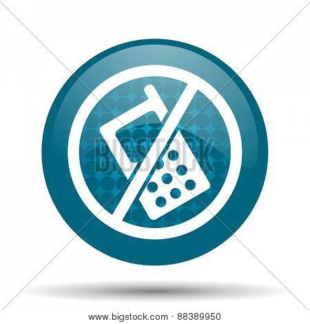 no phone blue glossy web icon