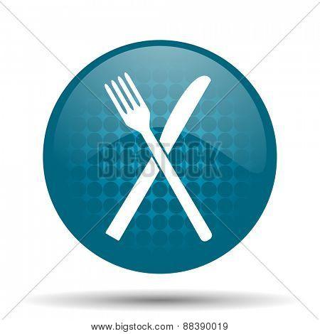restaurant blue glossy web icon