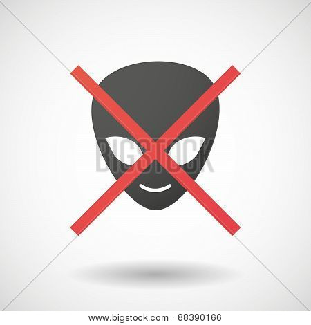 Not Allowed Icon With An Alien Face