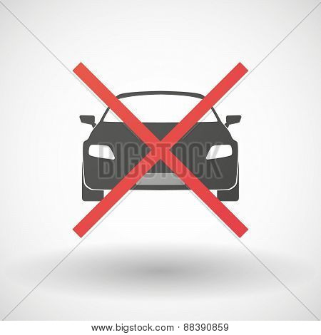 Not Allowed Icon With A Car