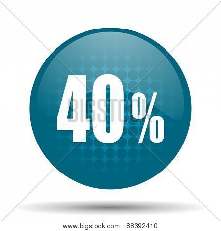 40 percent blue glossy web icon
