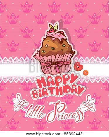 Happy Birthday, Little Princess - Holiday Card For Girl With Pancake On Pink Background With Crowns.