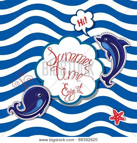 Funny Card With Blue Whale And Dolphin On Striped Background. Round Frame With Calligraphic Words Su