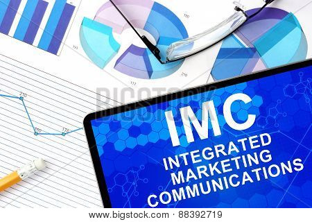 Tablet with integrated marketing communications   imc and graphs