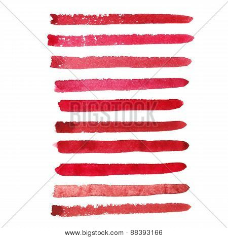 Set of marsala color brush strokes