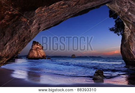Cathedral Cove at sunrise, Coromandel Peninsula, New Zealand