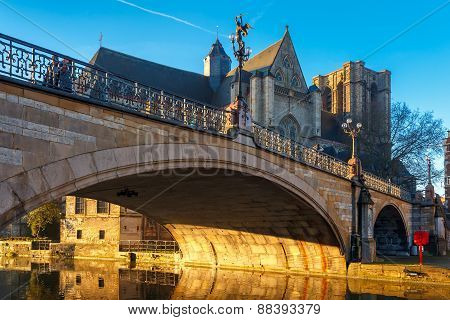 St. Michael Bridge at sunrise in Ghent, Belgium