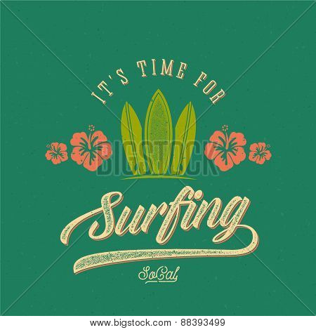 Vector Retro Style Surfing Label, Logo or T-shirt Graphic Design Featuring Surfboards and Flowers wi