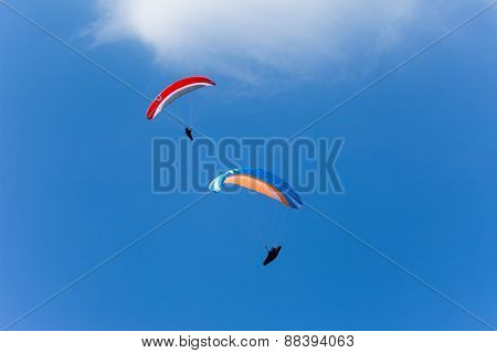 Paragliding high in the sky
