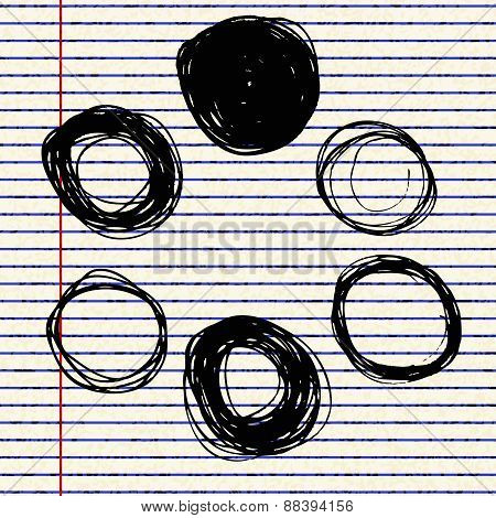 Hand Drawn Illustration Of Circles On Lined Paper