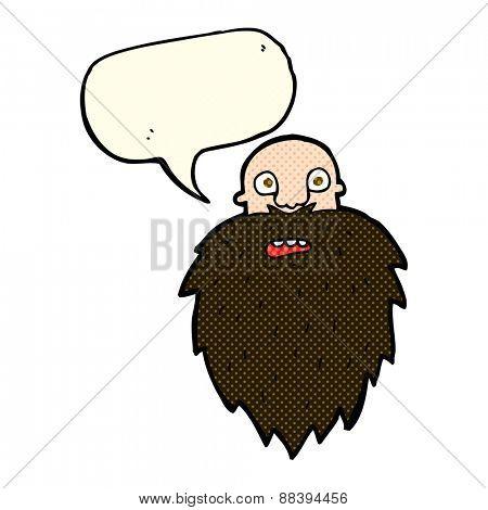 cartoon bearded man with speech bubble