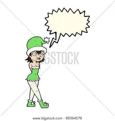 cartoon woman in christmas elf costume with speech bubble