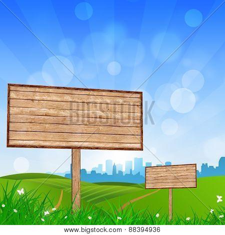 Wood Bigboard In The Nature