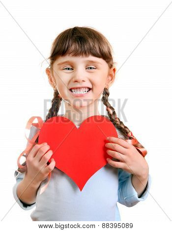 Little Girl With A Heart Shape