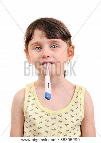 Little Girl With Thermometer