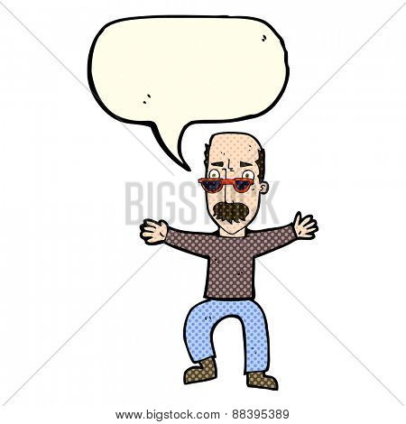 cartoon old man waving arms with speech bubble