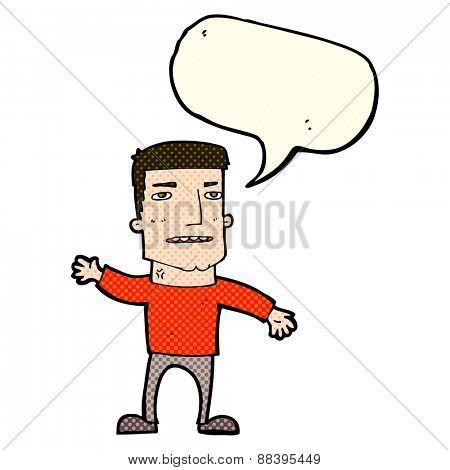 cartoon waving stressed man with speech bubble