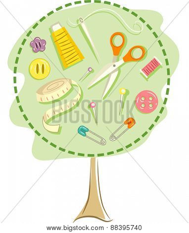 Illustration of a Tree Frame with Various Sewing Tools Inside