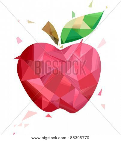 Illustration of a Red Apple with a Geometric Design