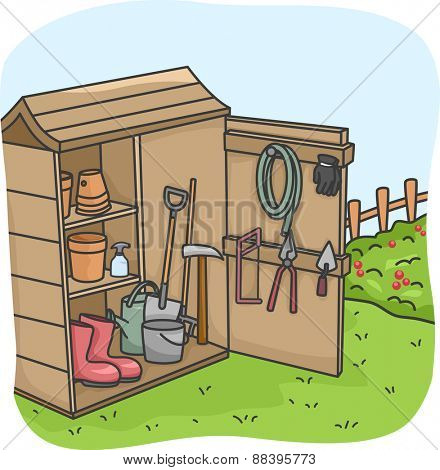 Illustration of an Open Shed Full of Gardening Tools