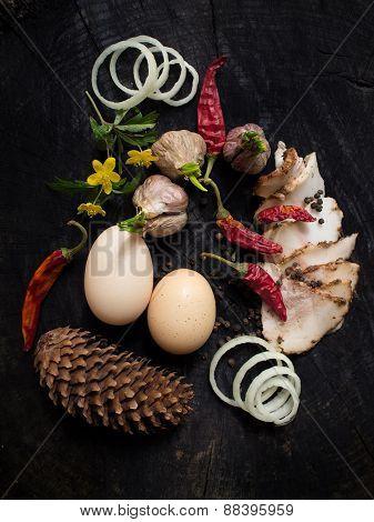 Bacon, Garlic, Eggs, Onion,cone And Pepper