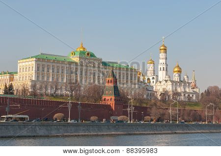 Panorama of Moscow Kremlin in the evening. Russia