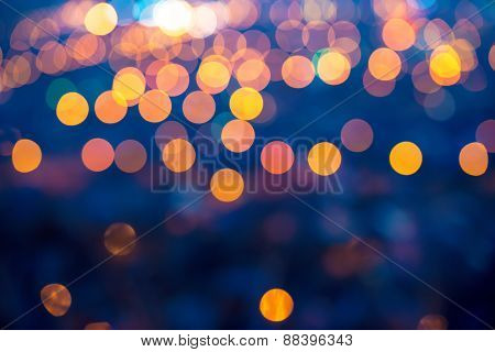 Merry Christmas Lights Abstract Circular Bokeh On Blue Background, Closeup