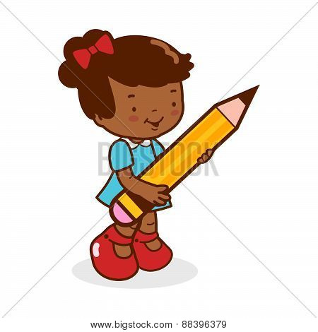 Little girl student holding a big pencil