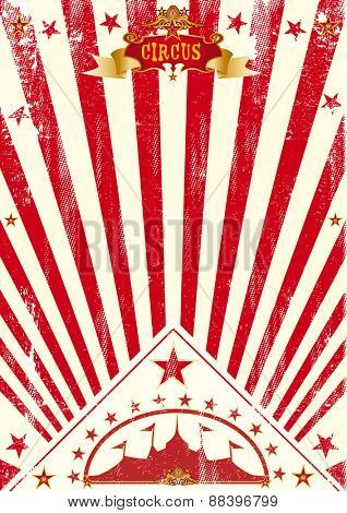 Circus poster red sunbeams. A vintage circus poster for your company