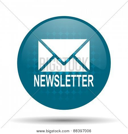 newsletter blue glossy web icon