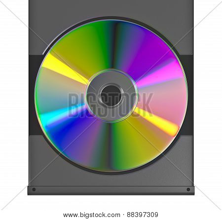 CD or DVD disk on white background