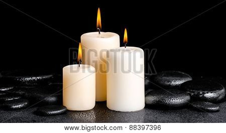 Spa Concept Of White Candles On Zen Basalt Stones With Drops, Panorama