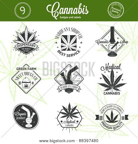 Set of medical marijuana logos. Cannabis badges, labels and logos