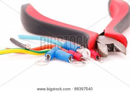 Cable Connectors And Metal Nippers On White Background