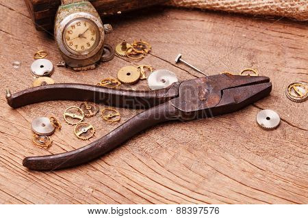 Rusty Pliers And Gears