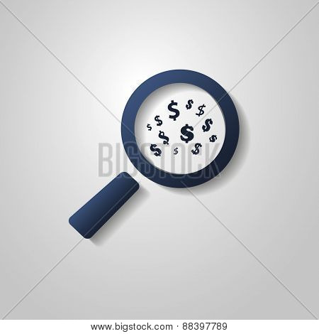 Business Analysis Symbol with Dollar Sings and Magnifying Glass Icon - Search Your Money