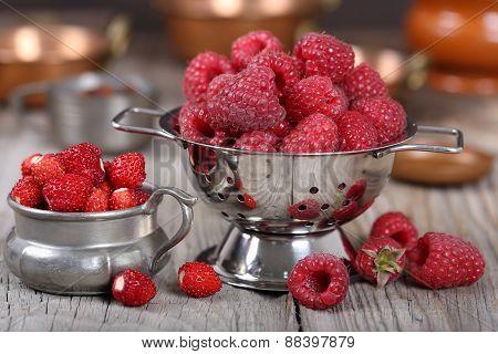 Raspberries And Strawberries
