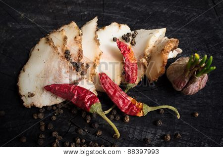 Salo With Spices,garlic  And Red Pepper