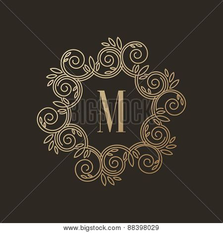 Simple and elegant monogram design template with letter M on dark background