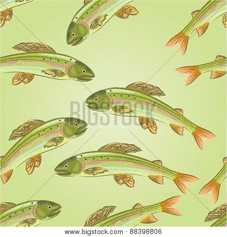 Seamless Texture Grayling, Salmon-predatory Fish Vector