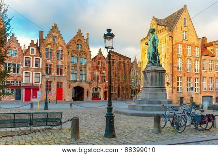 Jan Van Eyck Square in Bruges, Belgium